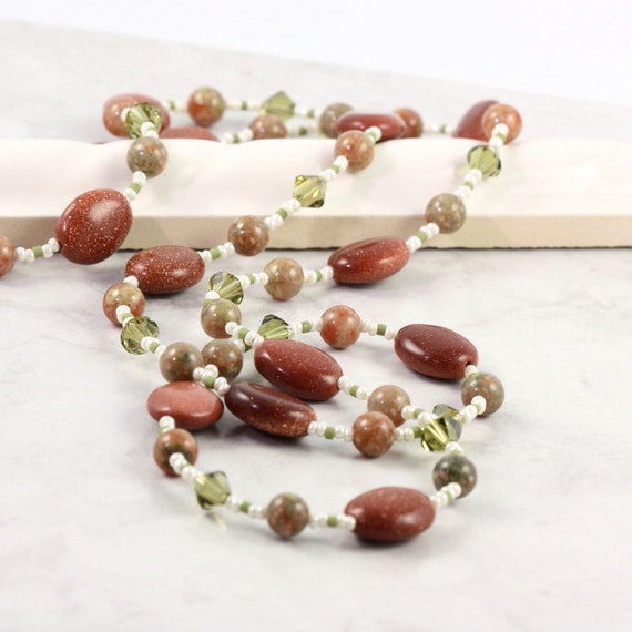 Green Eyeglass Leash Rust Eyeglass Holder Autumn Jasper Tan Beaded Lanyard Gemstone Sunglass Lanyard Olive Eyeglass Chain Goldstone Lanyard