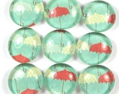Glass Marble Magnets or Push Pins Set- Umbrella for a Rainy Day