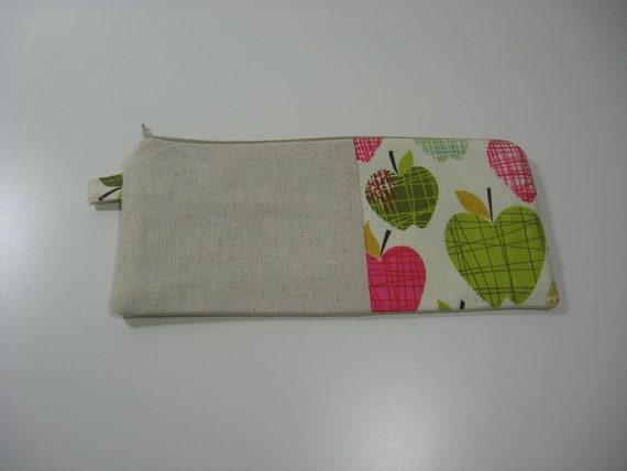 Cotton Case Pencil Pouch , Cosmetics Pouch, Zippy Pouch - A is for Apple