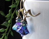 Purple Blue And Green Tiffany Iris Glass Flower Bud Earrings With Iridescent Rhinestones