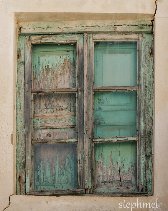 Old window, 8x10 fine art print, green decayed window of a house in Naxos island, Greece