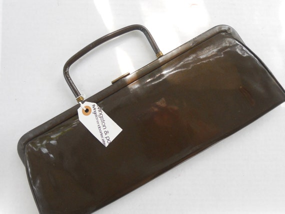 vintage chocolate brown patent leather clutch