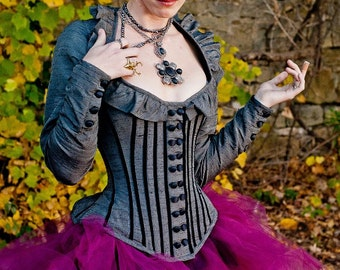 "Steampunk Corset Jacket - Gothic Victorian Wedding- Renaissance Pirate Outfit - ""Juliet Style"" Custom to your size"