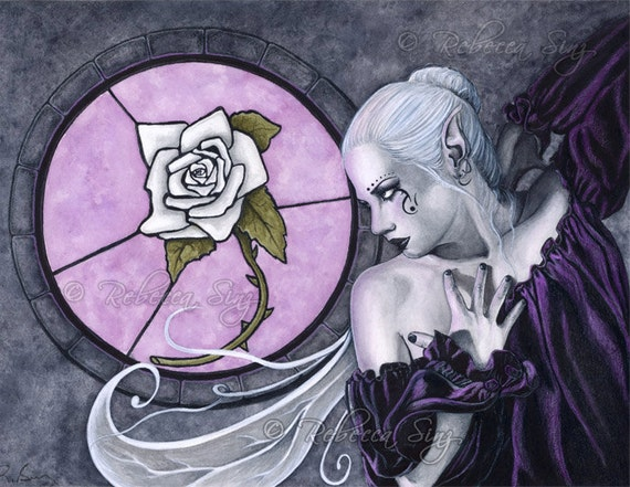 The White Rose PRINT Fairy Fantasy Stained Glass Window Gothic Art Watercolor Purple Black Gray Wings 3 SIZES