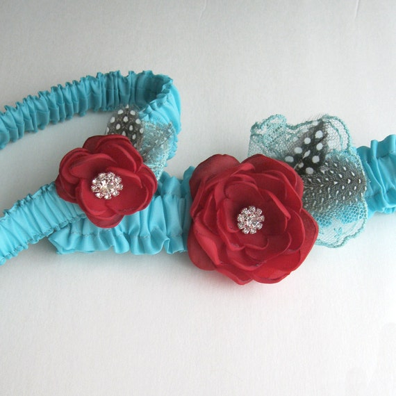 Wedding Garter, Tiffany Blue and Red, Bridal garter, Lace Feather, set G301, weddings accessories