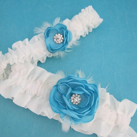 Wedding Accessories, Garter, Blue Ivory, Bridal garter, feather garter, Set G157, bridal accessories