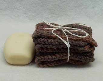2 Knitted Brown Fuego Dish cloth facecloth