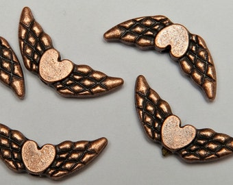 12 Flying Heart Beads in Antiqued Copper Tone, Lead/Nickel Free Base Metal Beads, M0427-AC