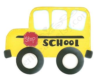 School Bus Paper Piecing PATTERN, Scrapbook Embellishment, E Pattern, PDF Pattern, Digital Pattern
