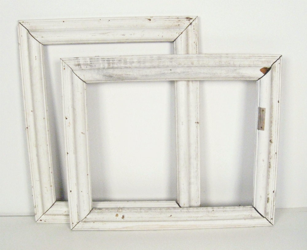 Vintage white painted wood picture frames cottage style for Bungalow style picture frames