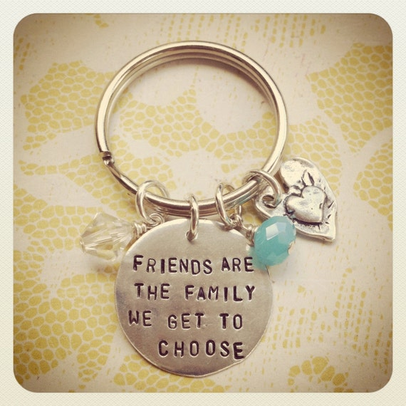 Friends Are The Family We Get To Choose Heart Keychain Sterling Silver Hand Stamped