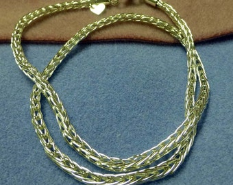 Fine Silver Handmade Double Loop-in-Loop Necklace 24 Inches in Length