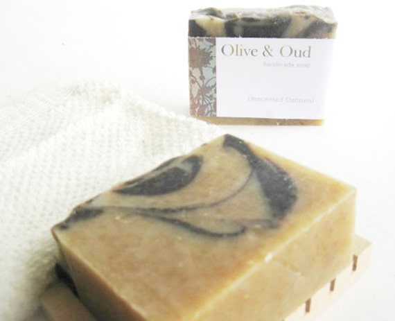 Unscented Oatmeal soap with organic oats, honey, cocoa and shea butters