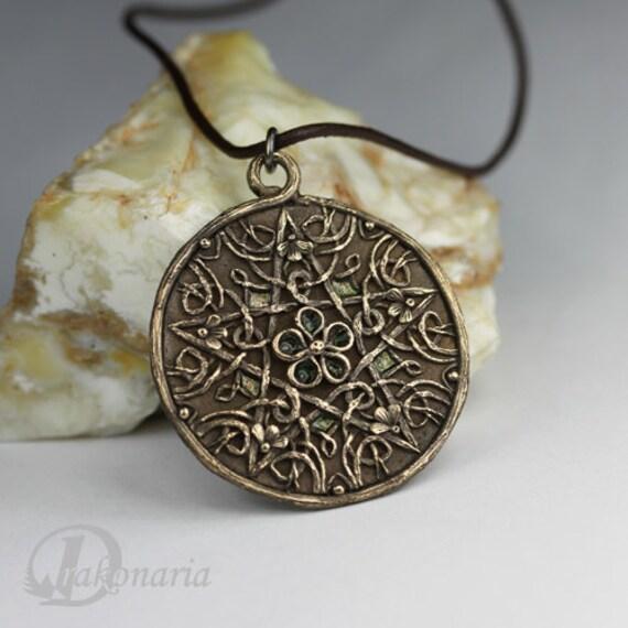 Flower pentacle - bronze pendant- RESERVED FOR ALYSSA