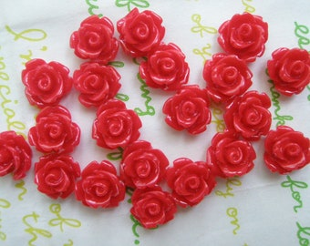 Tiny rose cabochons 10pcs PD 003 10mm Red