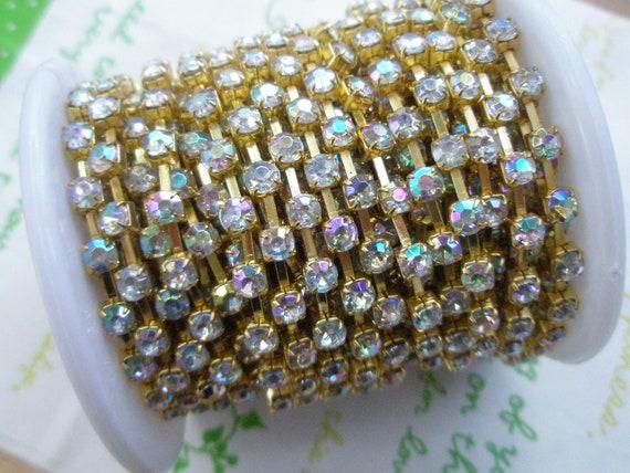 AB shiny  rhinestone chain ( Gold tone ) 4mm stone 50cm