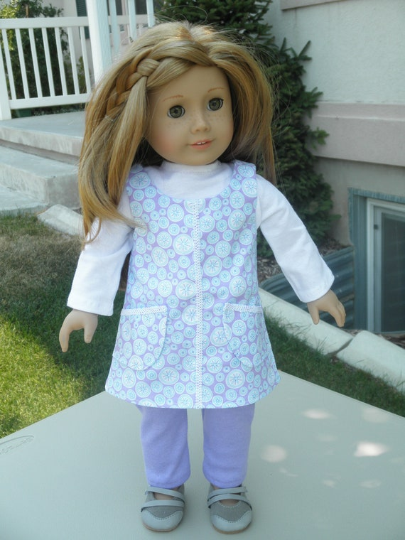 American Girl Doll Clothes Three Piece Lavender and Aqua Outfit