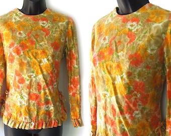 60s Orange Floral Ruffled Hemline Cotton Blouse S