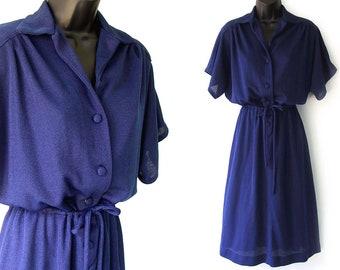 70s Blue with Drawstring Waist Dress M L