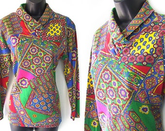 80s 90s Colorful Geometric Floral and Paisley Print Blouse M L