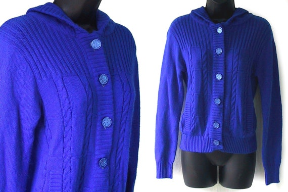 70s Blue Cableknit Hooded Acrylic Cardigan Sweater M