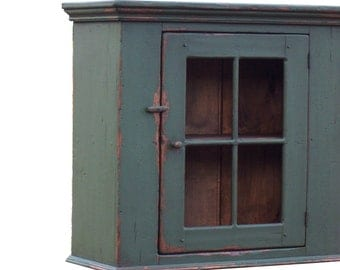 Painted primitive country farmhouse furniture painted  wall cupboard cabinet for an Early American kitchen
