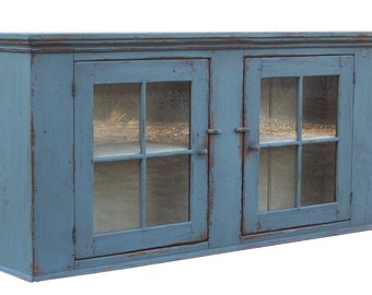 Primitive furniture painted country wall cupboard farmhouse kitchen cabinet Early American reproduction