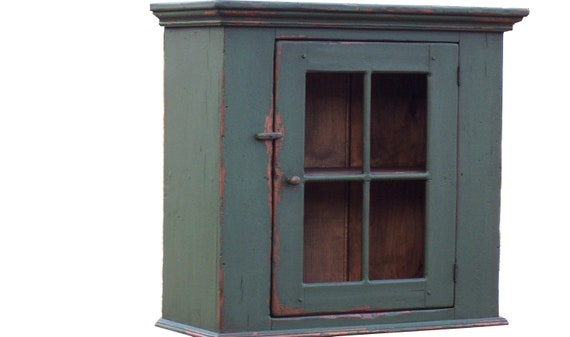 Painted primitive country farmhouse wall cupboard for an early American home