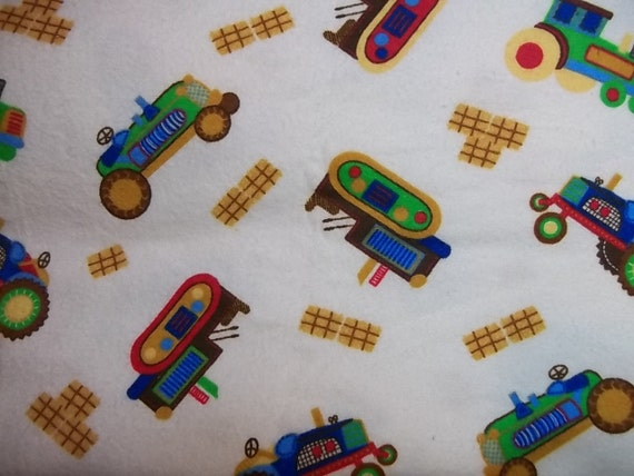 Rachel's Destash - 2 Yards of 22 in. wide Cotton Flannel - Colorful Tractors on White