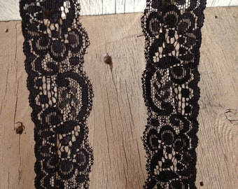 Stretch Lace-BLACK no. 9-1 1/4 inch -5  or 10 yards