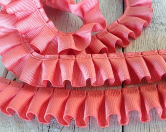Box Pleated Grosgrain Ribbon CORAL -2 yards-7/8 inches