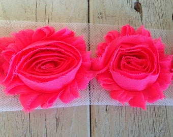 Chiffon Shabby  NEON PINK Rose Trim on Net-2 1/2 inch- 1/2 yard