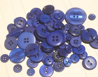 Blue Buttons - Sewing Bulk Crafting Button Dark Blue - 100 Buttons - Maui Blue