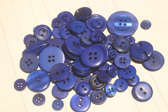Blue Buttons Assorted Round - Sewing Scrapbook Embellishments - Maui Blue