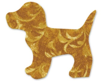 Yellow Dog Fusible Fabric Appliques Cotton Quilting Sewing Collage Die Cut