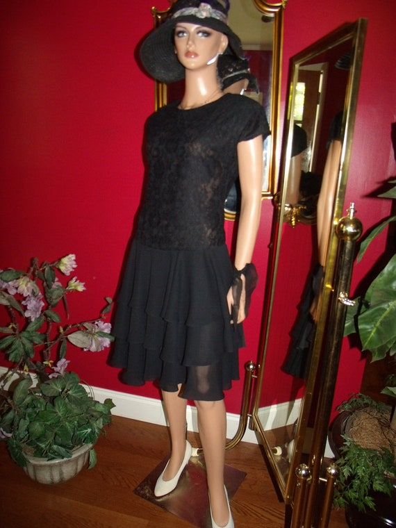 Vintage 80sFlapper Dress does  G. Gatsby Ruffle Size 8