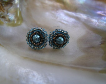 Carribbean Hand Beaded Button Design Earrings OOAK