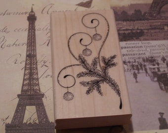 Christmas Lights Penny Black wood mounted Rubber Stamp