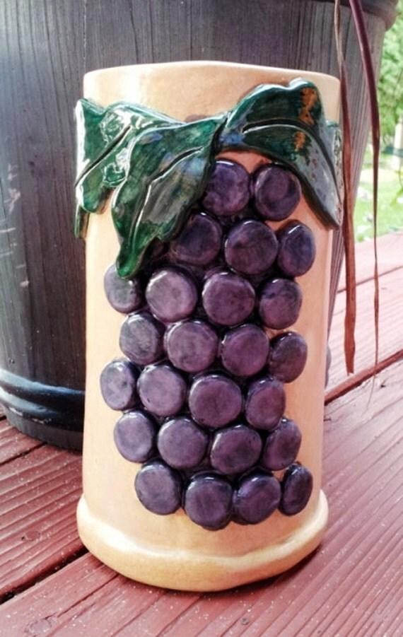 Ceramic wine chiller utensil holder vase beige with purple grapes