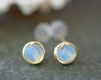 Tiny opalite post earrings 14k gold filled wire wrapped sea opal stud earrings translucent opalescent glass earrings second piercings 5mm