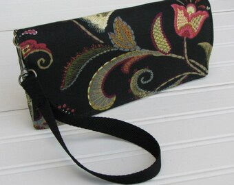 Black Floral Clutch