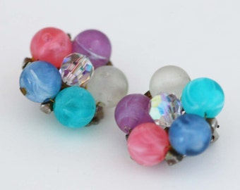 Pastel Cathe Bauble Earrings - Vintage Costume Jewelry