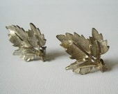 Vintaged Textured Gold-Tone Leaf Bouquet Earrings by BSK