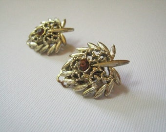 Vintage Palm Goldtone Rhinestone Earrings