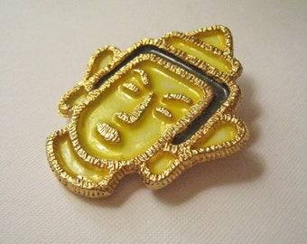 Vintage Thai Figural Yellow and Black Goldtone Brooch