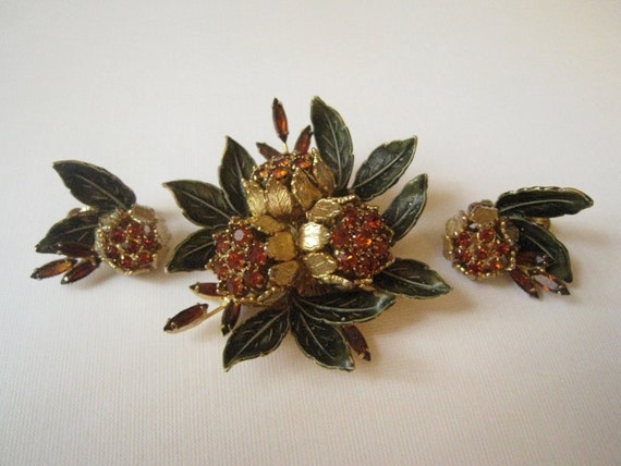 Vintage 50s Vendome Demi-Parure - Brooch and Earrings (FREE SHIPPING)