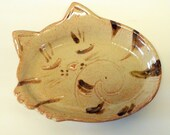 Shino glazed Sleeping kitten spoon rest, plate Made to order