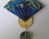Signed Dalton Art Deco Modernist Marbled Teal Fan Pin Or Pendant Vintage Scarab Crystal