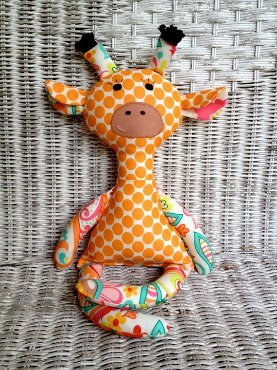 Riley Blake Paisley and Orange Polka Dot Giraffe