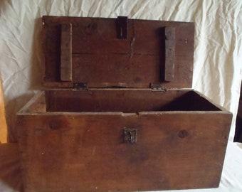 Vintage Primitive Solid Wood Carpenters Chest